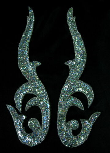 LR96 Mirror Pair Flamed Sequined Beaded Applique Motif Hologram Silver