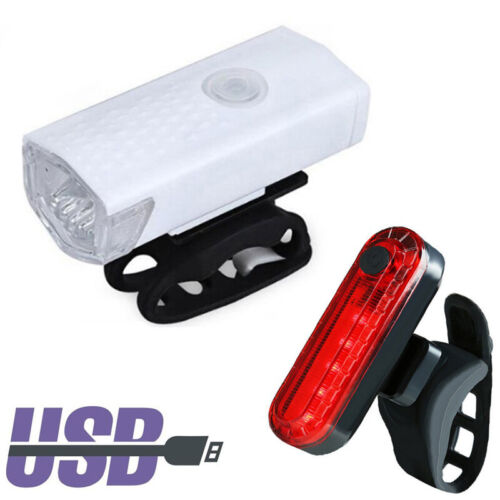 USB Rechargeable LED Bike Headlight Cycling Bicycle Front Light With Tail Light