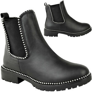 b487a2460690 Womens Studded Ankle BOOTS Chunky Sole Low Heel Lace up Biker Goth Punk  Size 6