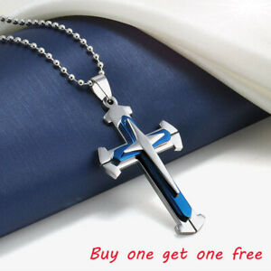 Unisex-039-s-Men-Blue-Silver-Stainless-Steel-Cross-Pendant-Necklace-Chain-2020