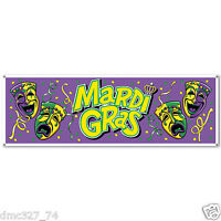 1 Mardi Gras Fat Tuesday Party Decoration Prop Jumbo Sign Banner 60 X 21