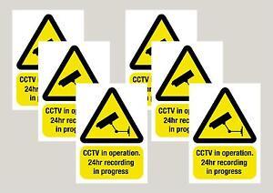 6 Avertissement Cctv Caméra Autocollants Signes Stickers 50mm X 70 Mm Livraison Gratuite De 1ère Classe-afficher Le Titre D'origine 100% D'Origine