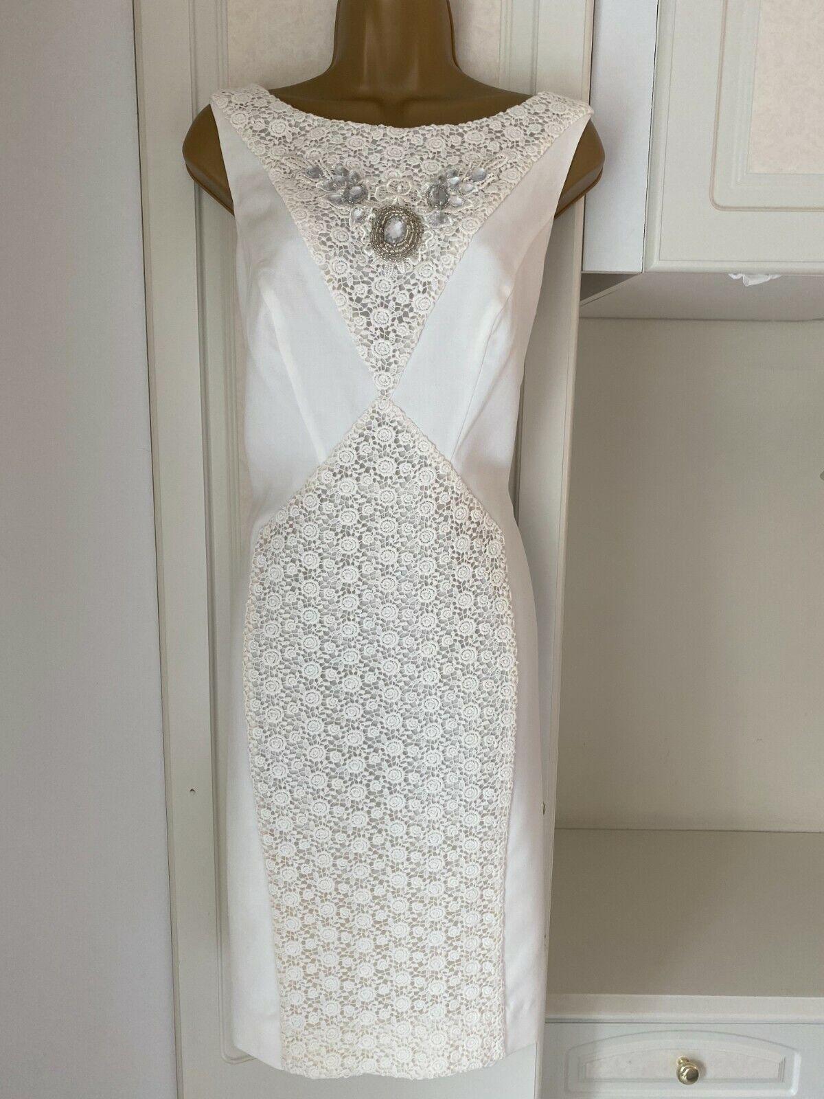 Julien Macdonald Size Uk 14 Quality Ivory Colour Lined Jeweled Dress Bust 38