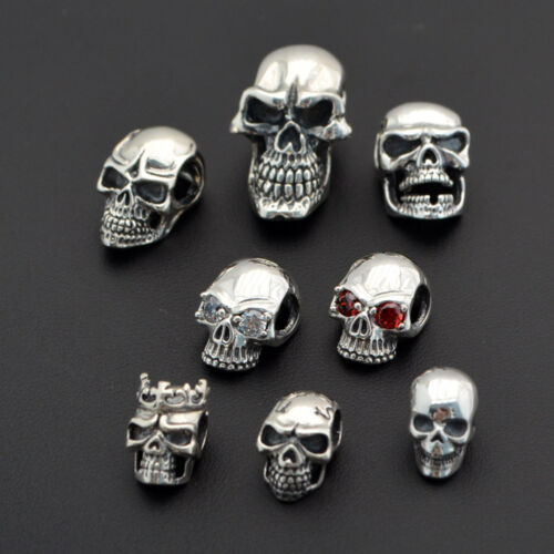 925 Silver Skull Beads Charm Bracelet Necklace Earring Connector Pendant Cos Gif