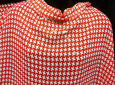 *NEW* Light Floaty chiffon Orange/White Geometric Print Dress Fabric*FREE P&P*