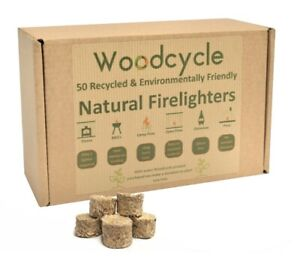 Natural Firelighters - 50 RECYCLED Wood ECO Fire Starter