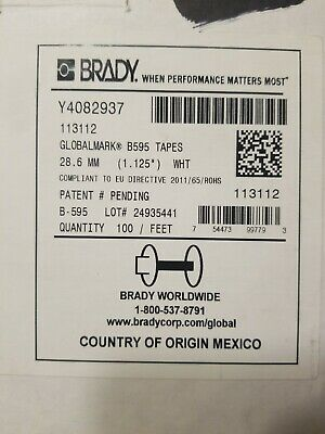 "Brady 1.125/"" White Vinyl Label B595 GlobalMark Tape 113112 Cartridge-New OpenBox"