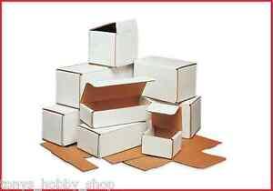 """50 Pack - White Corrugated Mailer Shipping Boxes (Medium 7"""" - 8"""") - 47 Sizes"""