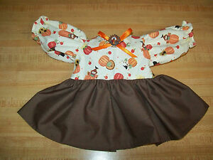 """THANKSGIVING PRINT DRESS  turkey pilgrim scarecrow for 16-17/"""" CPK Cabbage Patch"""