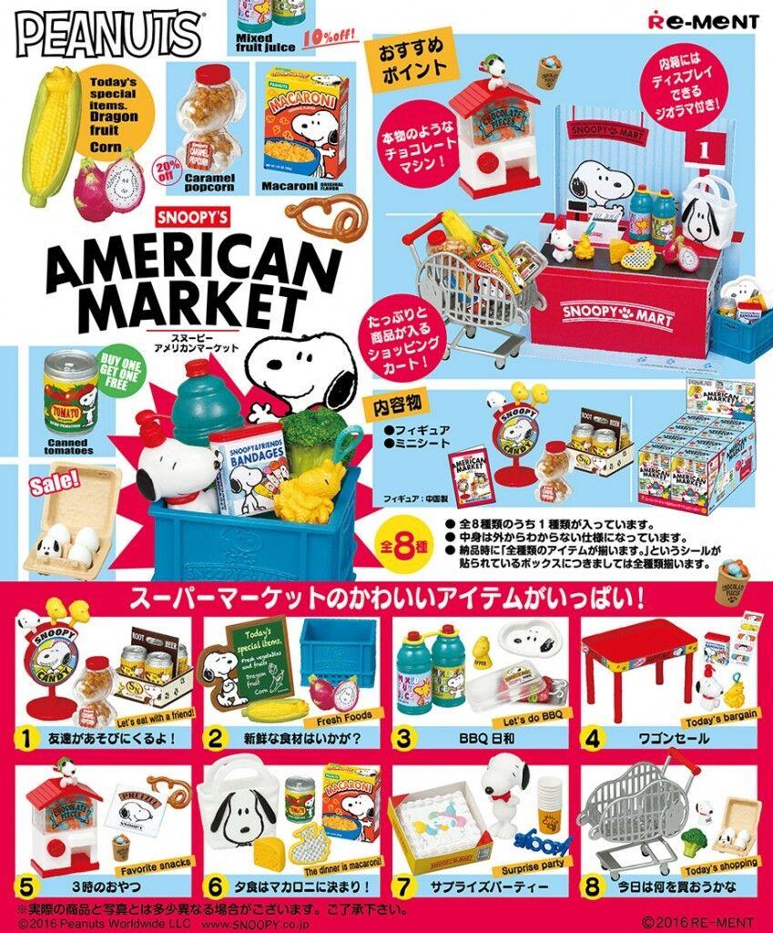 Re-ment Miniatura Peanuts Snoopy American Mercado súpermercado Juego Completo De 8 piezas