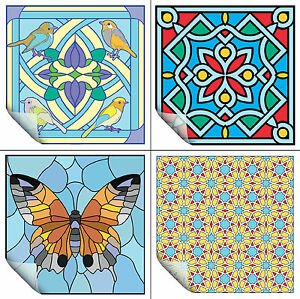 Stick On Stained Glass.Details About 2 Vinyl Stained Glass Decals Window Stickers Flower Bird Design 23cm 9