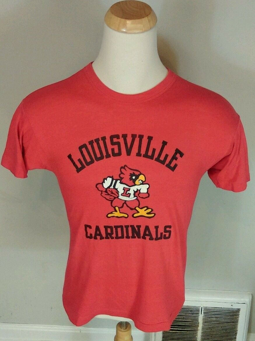 ViNtAgE 70's 80's Paper Thin Louisville Cardinals Champion T Shirt M Red