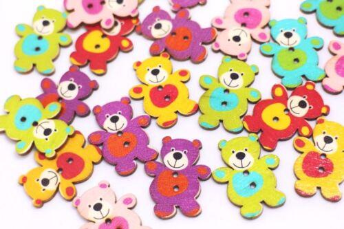 Teddy Bear en bois Boutons Large Deux Trous Couleurs Mélangées Animal en Forme 30 mm 20pcs