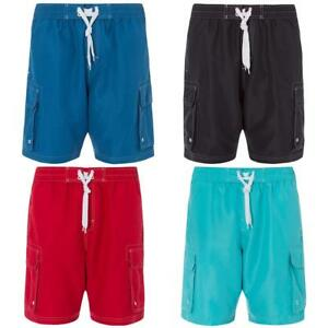 Mens-Plain-Long-Mesh-Lined-Swim-Shorts