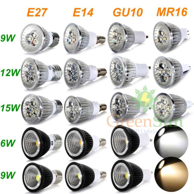 GU10/MR16/E27/E14 6W 9W 12W 15W COB Ampoule Lampe Downlight Spot light Bulb