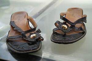 THINK-Damen-Sommer-Schuhe-Sandalen-Clogs-Zehentrenner-Gr-37-Leder-black-TOP