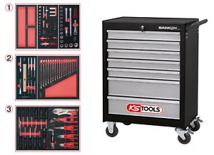 KS TOOLS Werkstattwagen 7 Schubladen gefüllt mit 112 Premium-Werkzeugen 838.0007