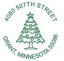 Custom Christmas Tree Round Name Amp Return Address Self Inking Rubber Stamp