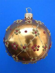 "2.25"" GOLD RED GLITTER KUGEL BALL EUROPEAN BLOWN GLASS CHRISTMAS TREE ORNAMENT"