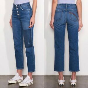 Sundry Size 29 Patch High Waist Jeans Straight Leg Crop Rainbow Embroidered NWT