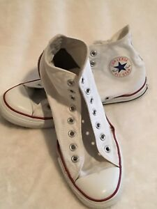 9639b3a4ce90 EUC Used Red White Converse High Tops Mens 9 Ladies 10 Shoes Boots ...