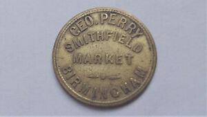Birmingham Smithfield Market Token, George Perry Two Shillings 2/- Fruit & Veg.