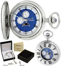 Woodford Half Hunter Pocket Watch Moondial Day/Date Quartz Chrome Free Engr 1248