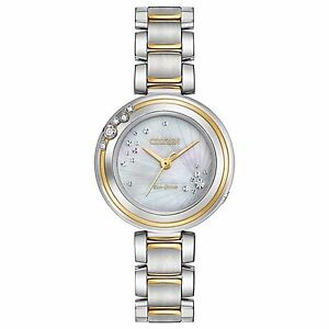 Citizen-Eco-Drive-Carina-Women-039-s-EM0464-59D-Diamond-Accents-Two-Tone-28mm-Watch