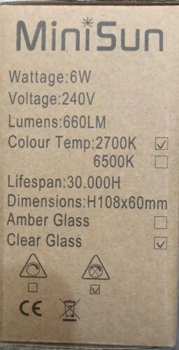 5 x Minisun Vintage LED Filament Edison Retro Light bulb Lamp Amber ES E27 Screw