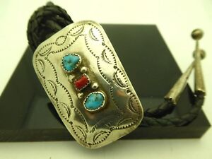 Vintage-Old-Pawn-Navajo-Signed-D-Cooke-Sterling-Turquoise-Gemstone-Bolo-Tie