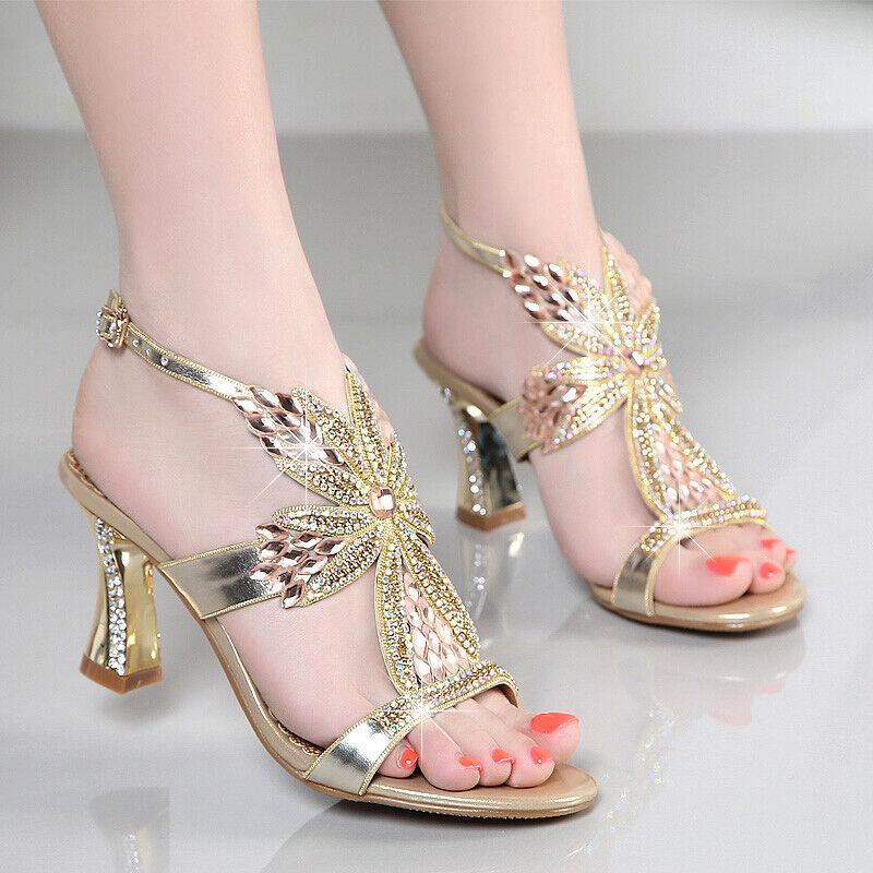 Fashion femmes Slingbacks Sandals Luxury Rhinestone Open Toe Wedding Party chaussures