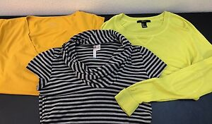Lot Of 3 Woman's Size Small Knit Shirts Short Sleeve Tops Forever 21 Yellow