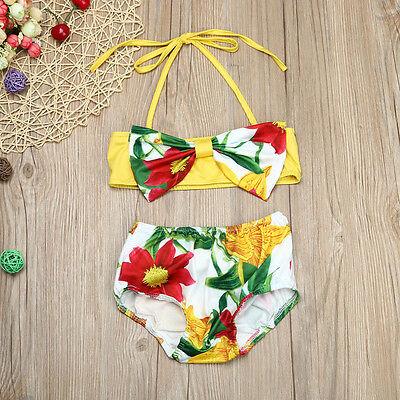 Cute Toddler Kid Baby Girl Floral Swimsuit Swimwear Bathing Bikini Set Beachwear
