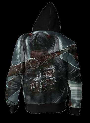 Woman Hat hoodie Squad Harley Quinn Printed Pullover Zipper Pocket hoodie S-5XL