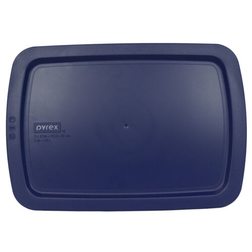 "Pyrex C-233-PC 9x13/"" Blue Rectangular Plastic Lid 2PK New for 3Qt Easy Grab Dish"