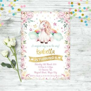 UNICORN-BIRTHDAY-PARTY-GOLD-GLITTER-PERSONALISED-INVITATION-INVITES-FLORAL-BOHO