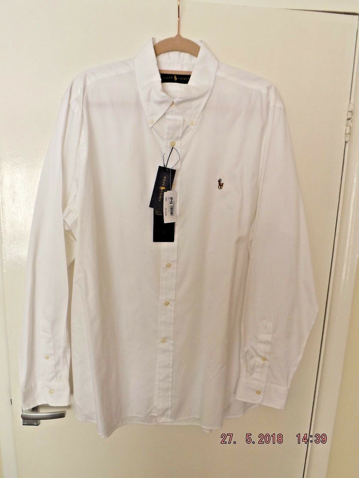 POLO RALPH LAUREN MEN`S GENUINE.. NEW WITH TAGS.. WHITE COTTON SHIRT XXL was