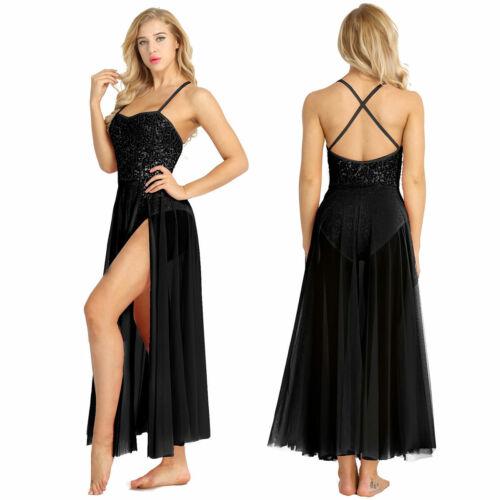 Women Adult Sleeveless Lyrical Ballet Leotard Dance Dress Sequin Mesh Maxi Skirt