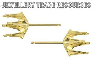 9ct Yellow Gold Stud Earring Settings Jewellery Making for 3.2mm Gemstones
