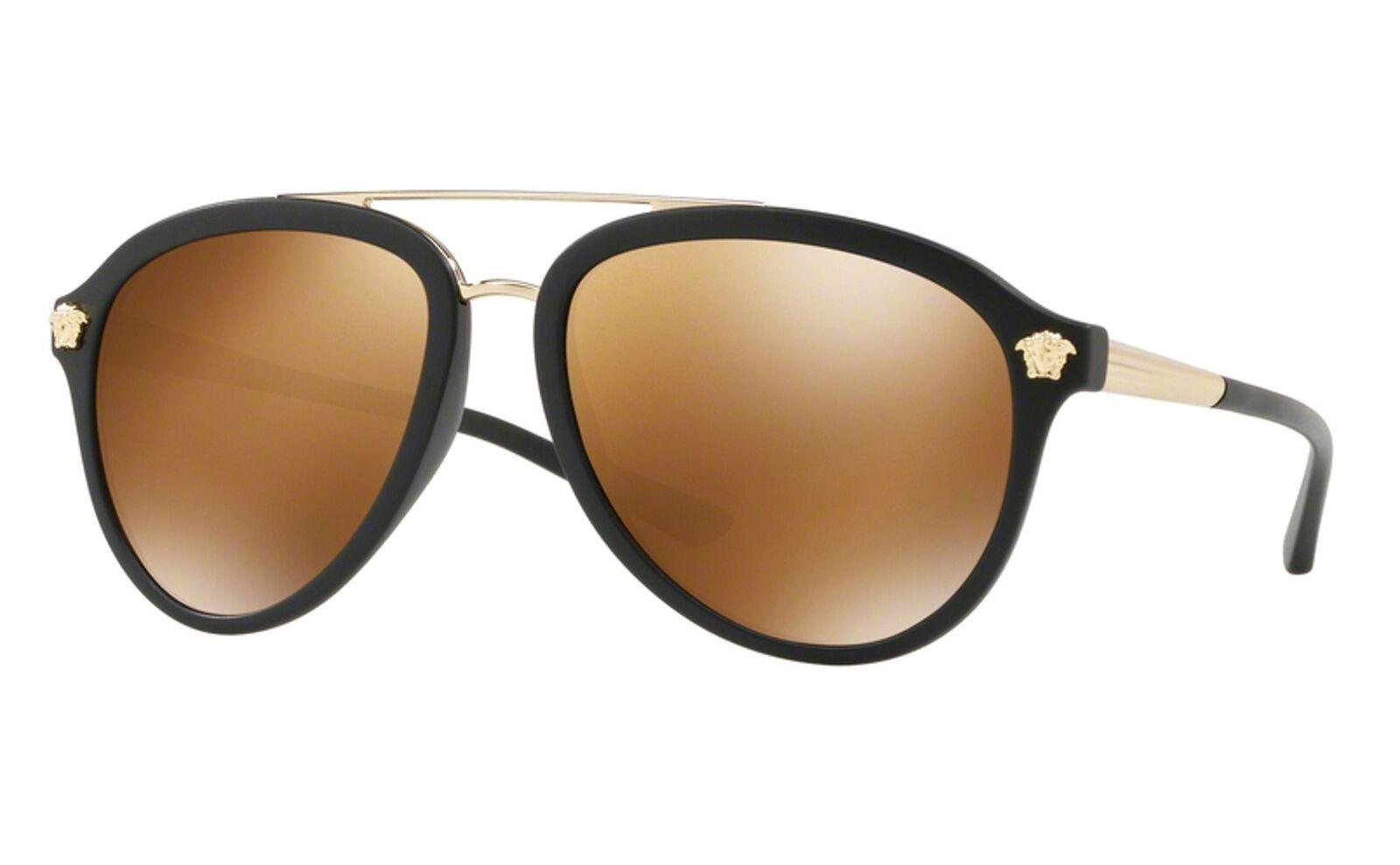 NEW Versace sunglasses VE2212 10027P 57mm Gold Gold Mirror AUTHENTIC Aviator NIB
