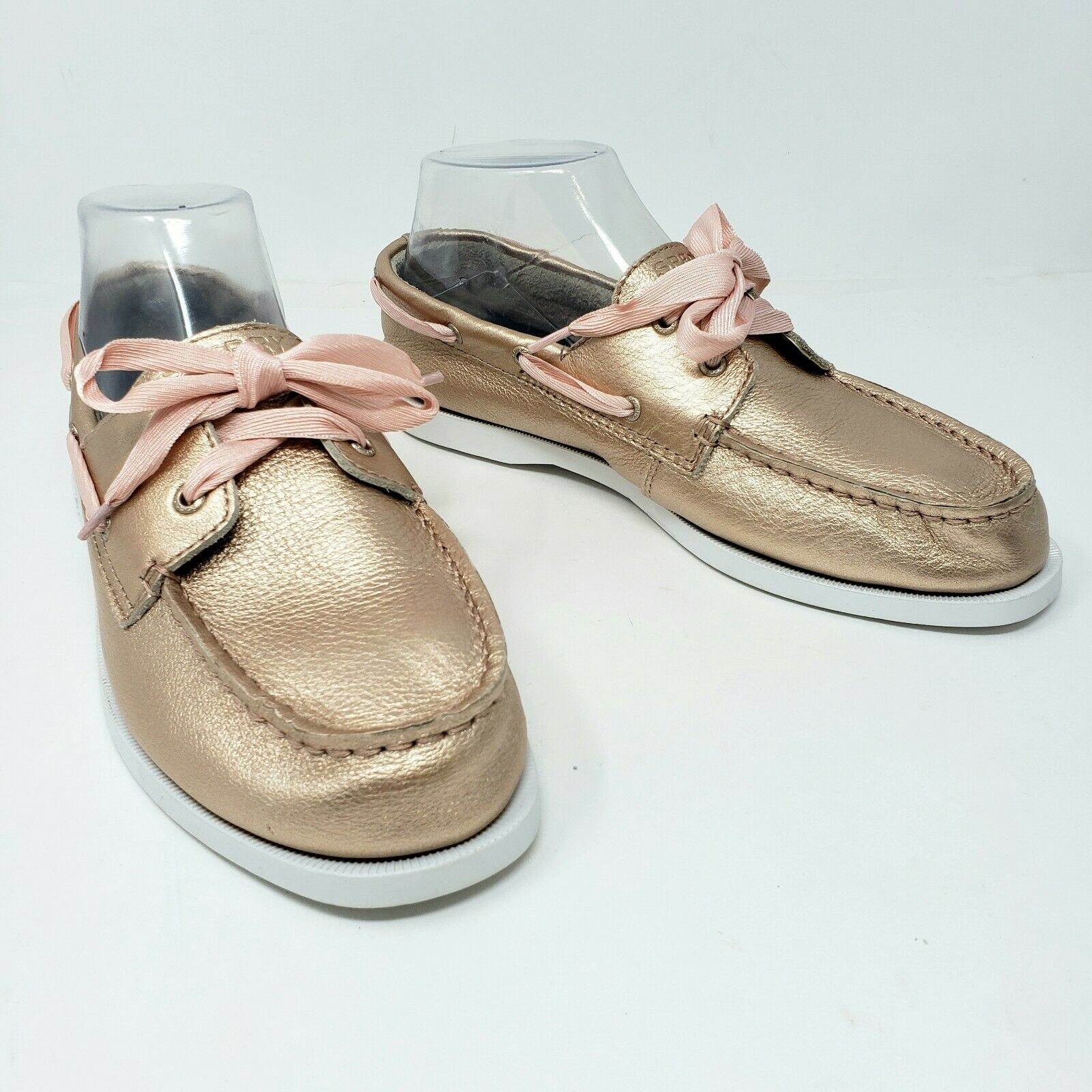 Sperry Top Sider Womens 6 Rose Gold Metallic Leather Laced Boat Shoe Loafers New