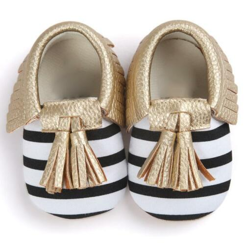 1pair Unisex Baby Crib Tassels Bowknot Leather Shoes Sneakers Casual Shoes Gold