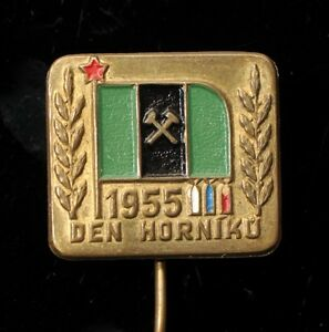 1955-Miners-Day-Mining-Vintage-Czech-Pin-Badge