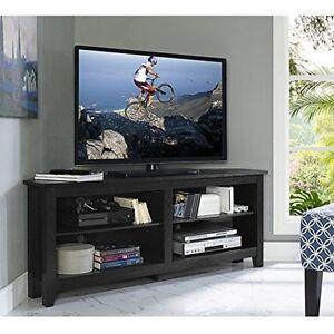 Walker Edison 58inch Wood Corner Tv Console Black W58ccrbl Tv Stand