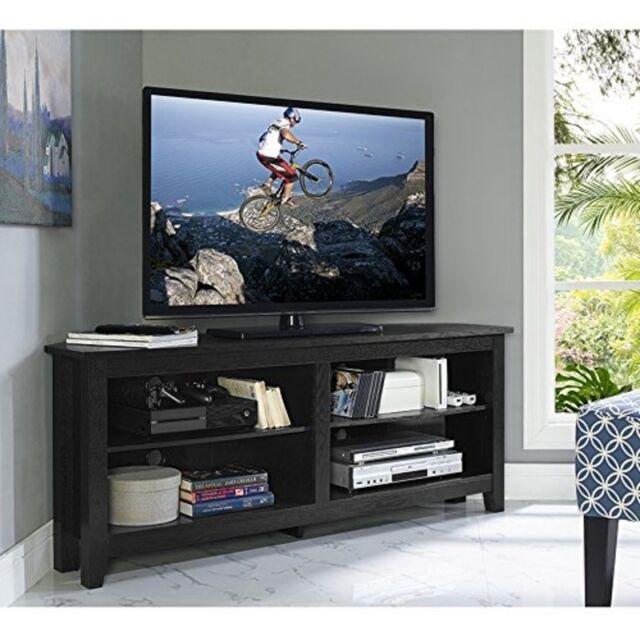 walker edison 58inch wood corner tv console black w58ccrbl tv stand new - Wood Corner Tv Stand