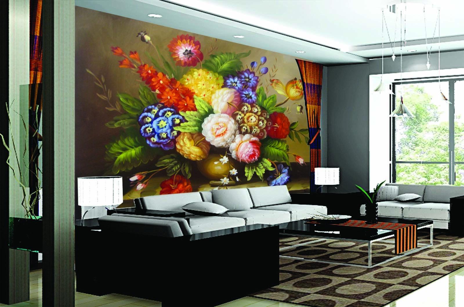 3D Bouquet 4201 Wallpaper Murals Wall Print Wallpaper Mural AJ WALL UK Lemon