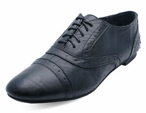 LADIES-BLACK-STUD-LACE-UP-FLAT-BROGUES-LOAFERS-SMART-WORK-SHOES-PUMPS-SIZES-3-8