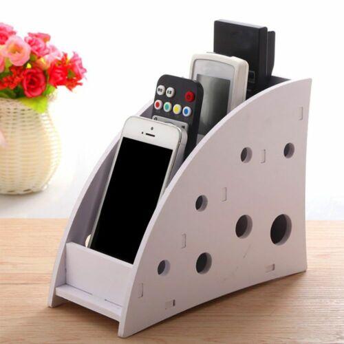 DIY Wooden Desk Remote Control Holder Storage Box Mobile Phone Shelf Rack Stand