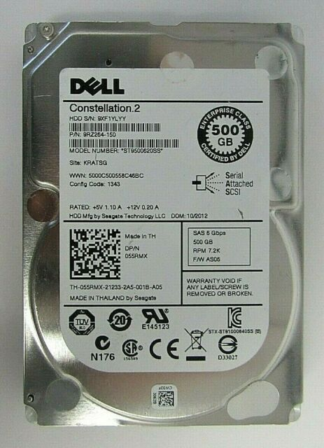 SAS, 6GB//s, 64MB Cache Seagate Constellation.2 ST9500620SS 2.5 Inch 500GB 7200RPM Hard Drive