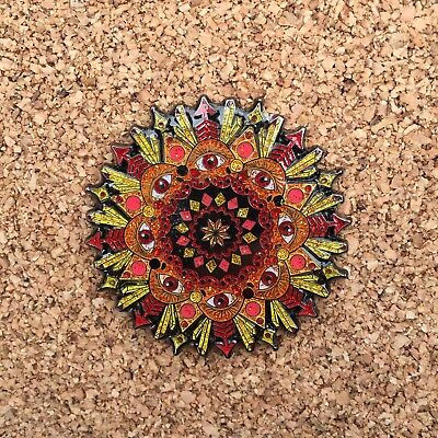 Crystals Red Mandala Hat Pin Third Eye Festival